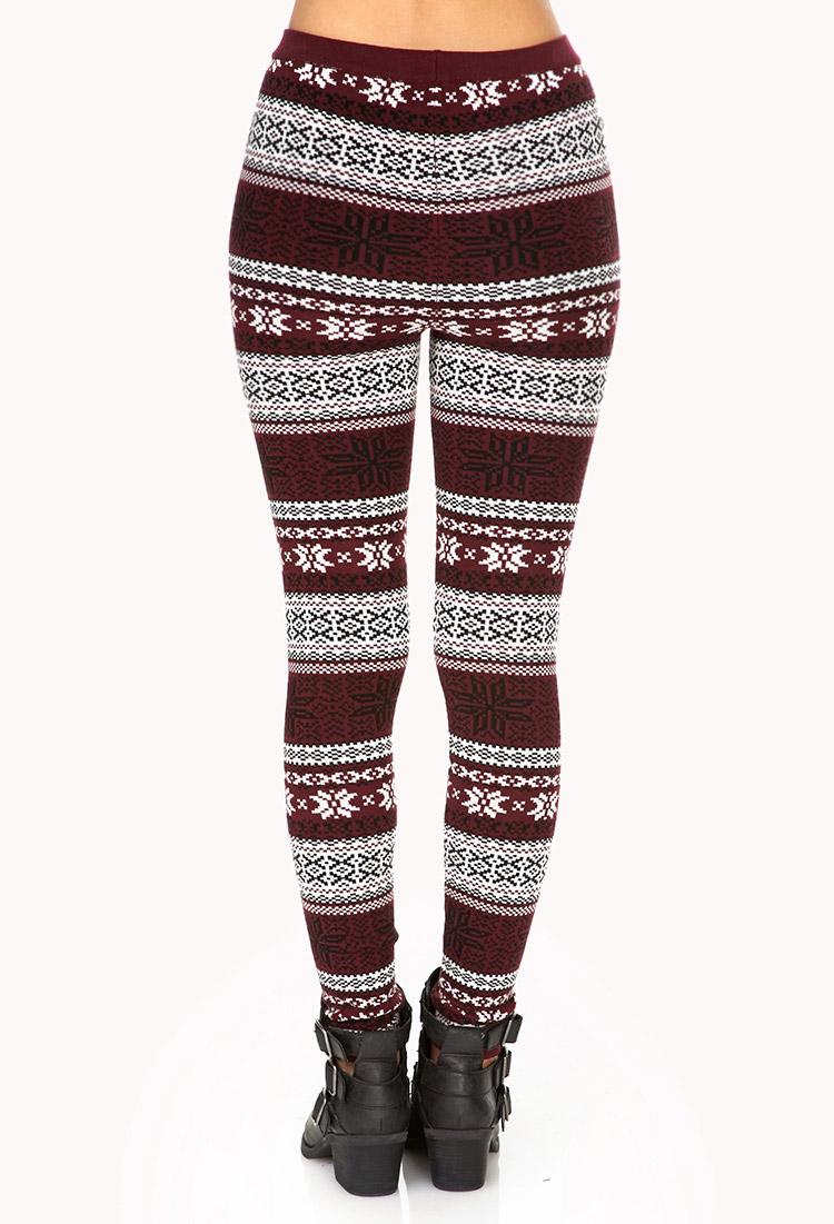 Forever 21 Festive Fair Isle Sweater Leggings in Red   Lyst