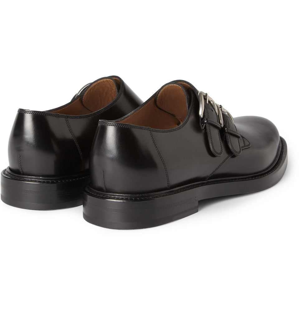 gucci leather monkstrap shoes in black for lyst