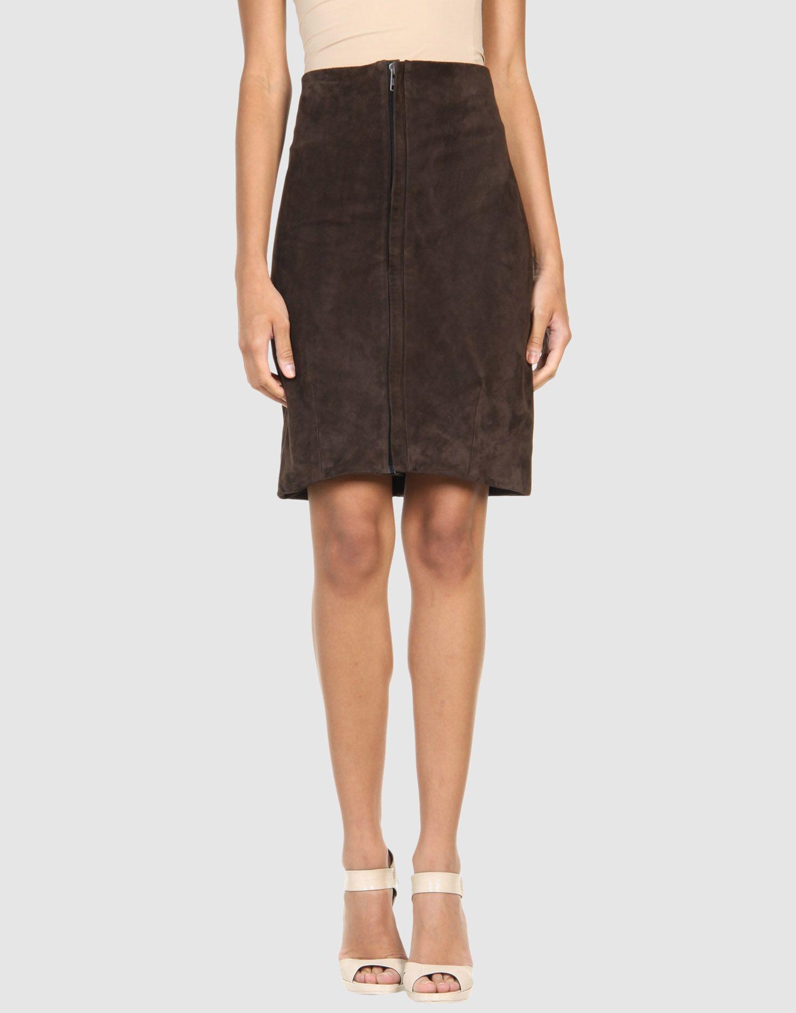haider ackermann leather skirt in brown brown