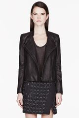 Helmut Lang Black Pebbled Leather Wither Jacket - Lyst