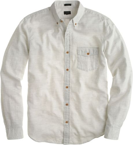 Slim brushed twill shirt in heather light grey in for Brushed cotton twill shirt