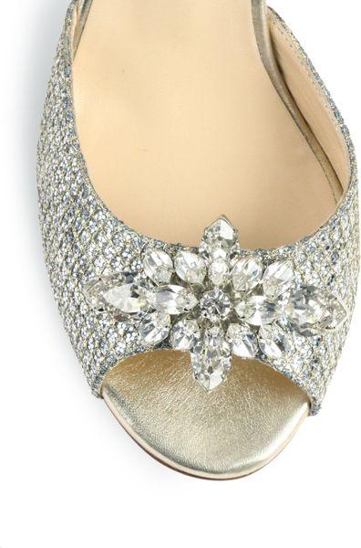 Jimmy Choo Maria Jeweled Glitter Dorsay Pumps In Silver
