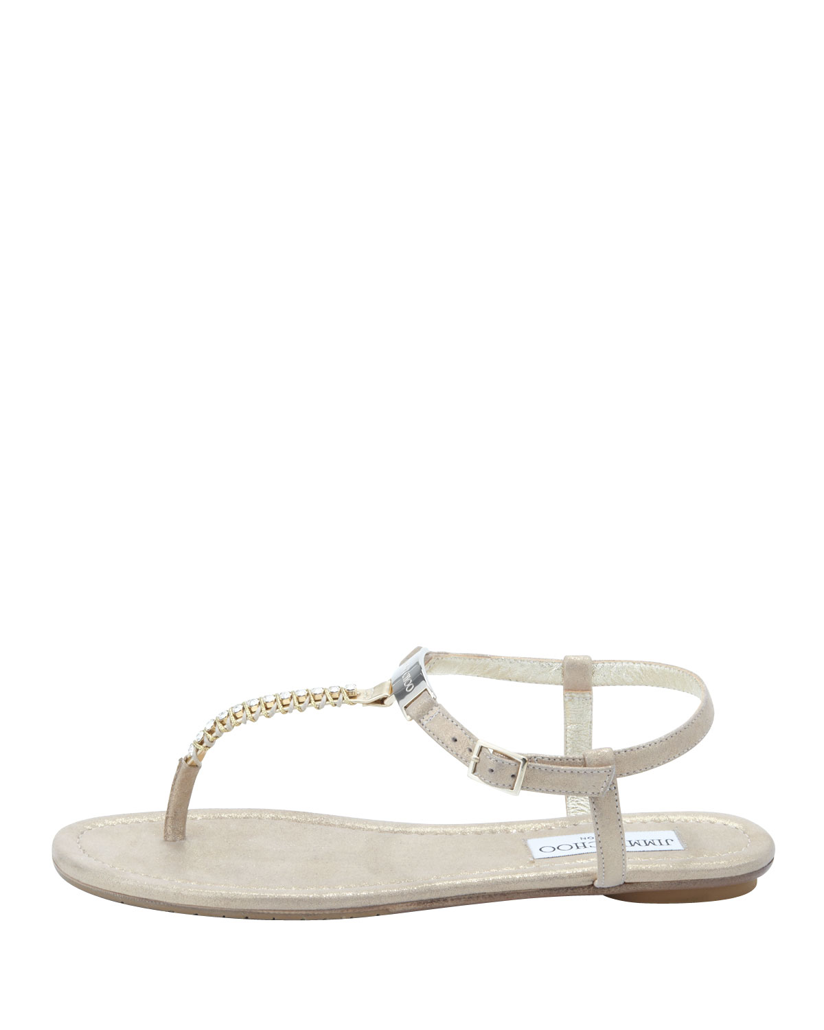 b7ea3bfbb6c7 Lyst - Jimmy Choo Nox Flat Crystal Thong Sandal Gold in Natural