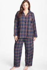 Lauren by Ralph Lauren Brushed Twill Pajamas - Lyst