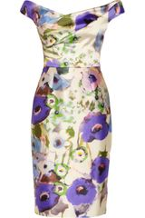 Lela Rose Floral-print Satin Dress - Lyst