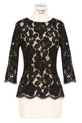 Lover Black Openwork Floral Pattern Lace Top - Lyst