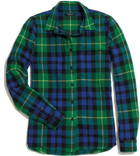 madewell flannel boyshirt in campbell plaid in green