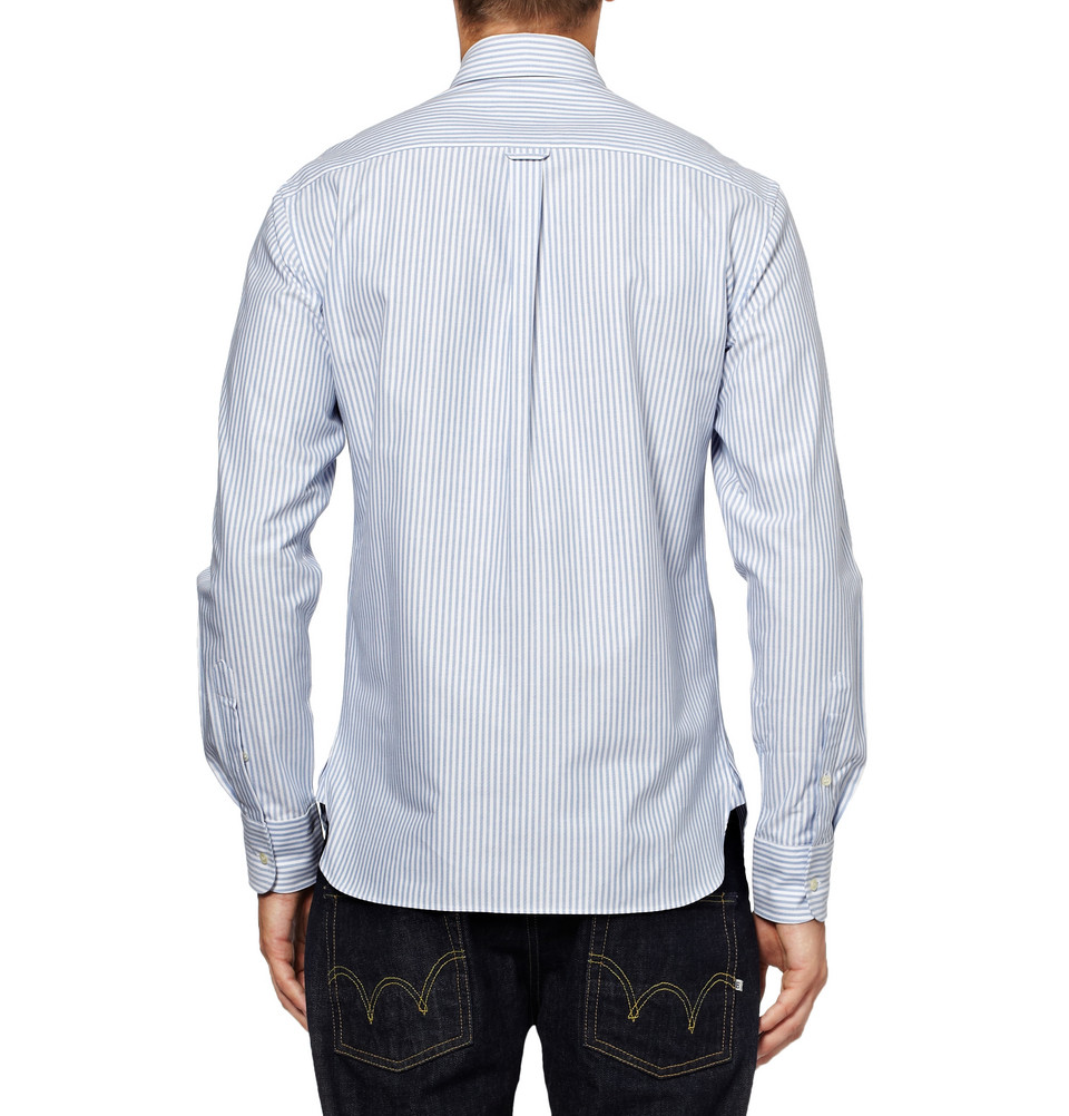 Lyst maison kitsun slim fit striped button down collar for White button down collar oxford shirt