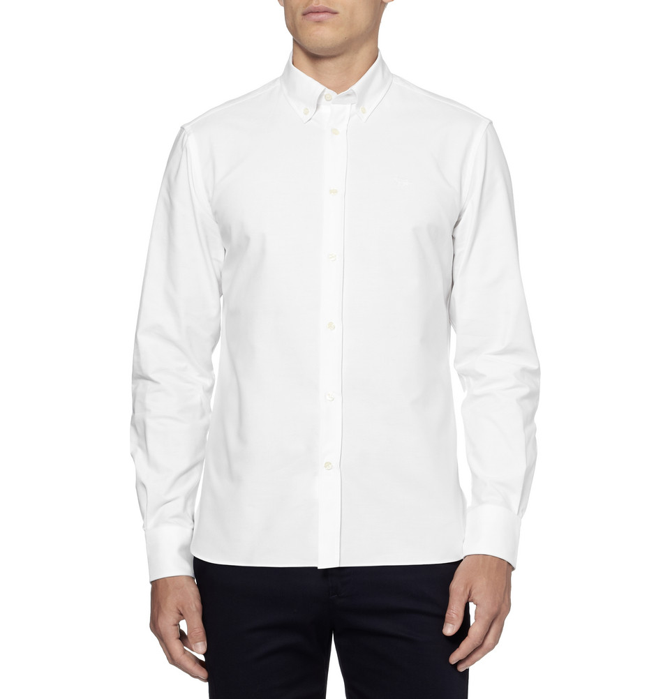 Maison kitsun slim fit buttondown collar oxford shirt in for White button down collar oxford shirt