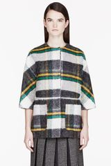 Marni Green and Yellow Bonded Mohair Plaid Jacket - Lyst