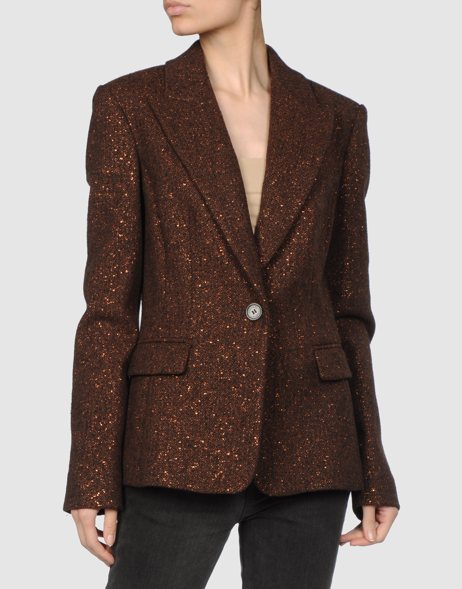 michael kors blazer in gold copper lyst. Black Bedroom Furniture Sets. Home Design Ideas