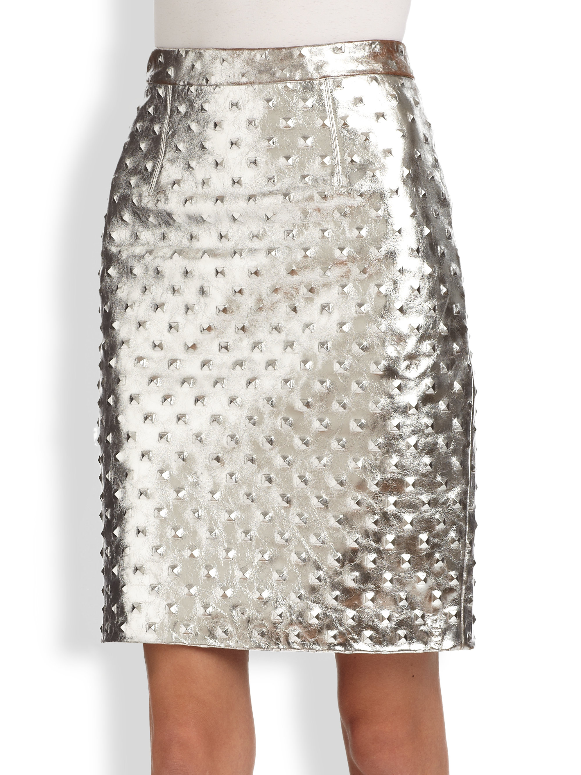 dcb1624ee20 Lyst - MILLY Studded Metallic Leather Pencil Skirt in Metallic
