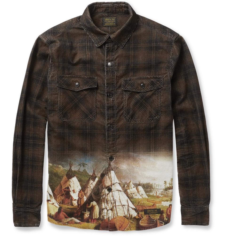 Lyst Neighborhood Printed Corduroy Shirt In Brown For Men