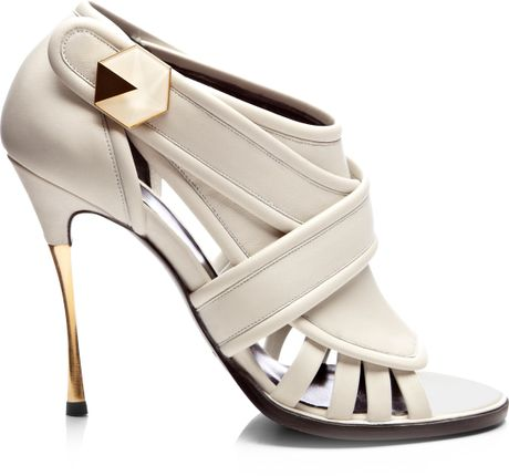 nicholas kirkwood leather opentoe cage sandals in white