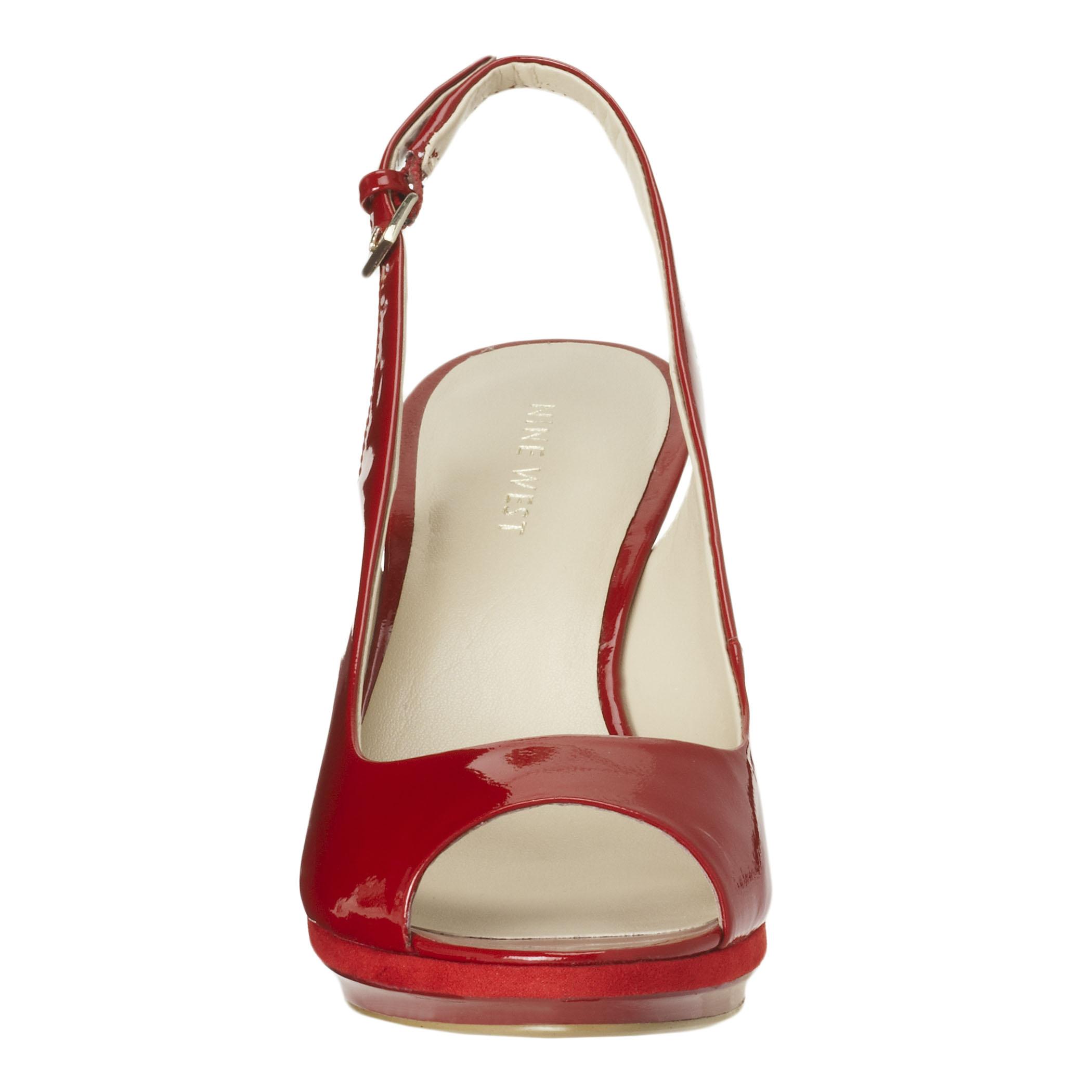 720db934b8b Lyst - Nine West Sharina Midheel Peep Toe Slingback in Red