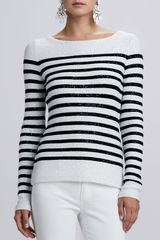 Oscar de la Renta Striped Sequined Long sleeve Sweater - Lyst