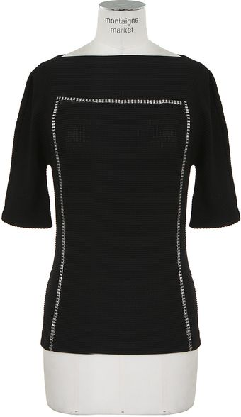 Paco Rabanne Black Textured Stretch Knit Top - Lyst