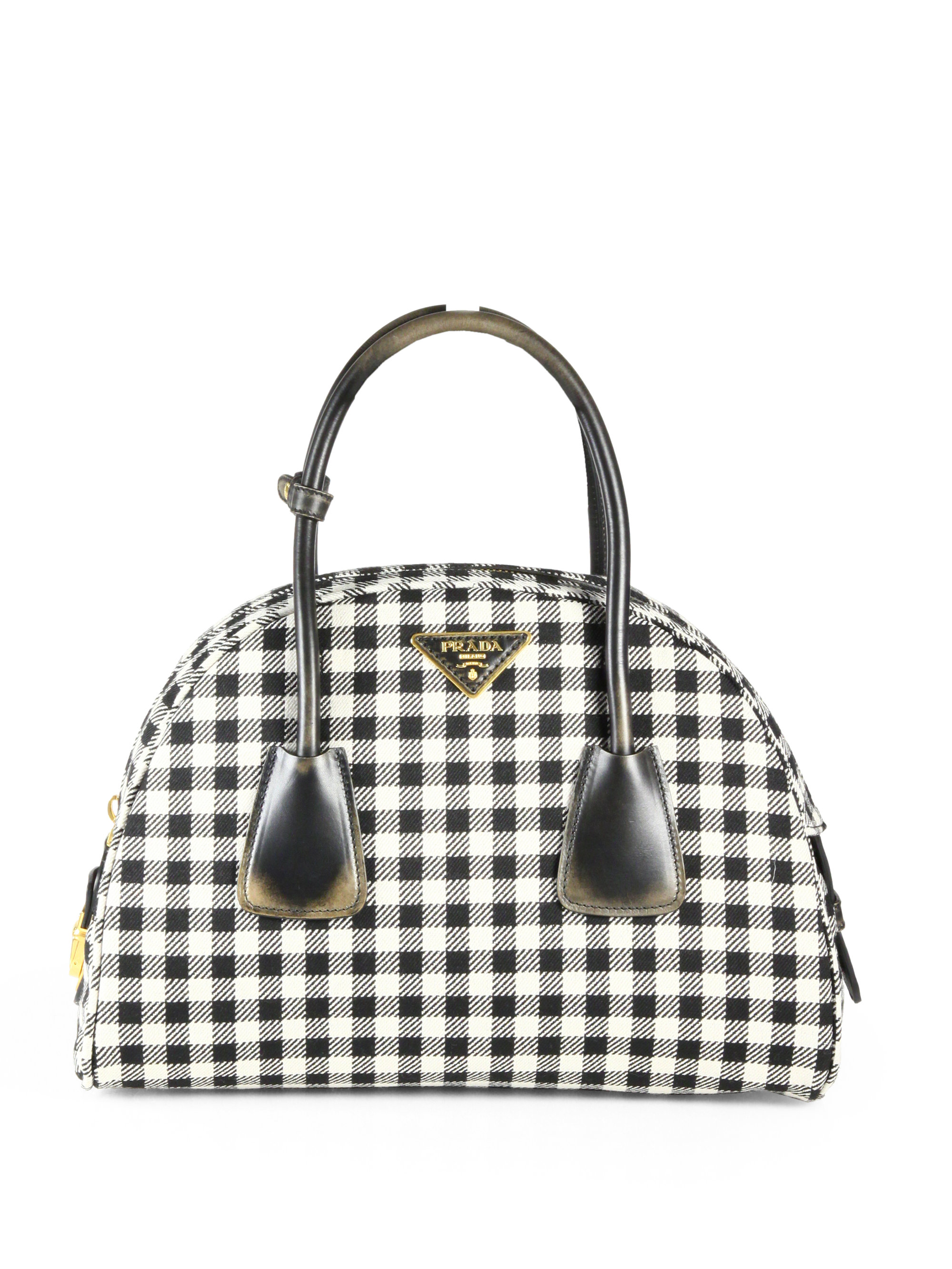 Lyst Prada Jacquard Check Small Bowler Bag In Black