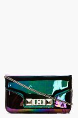 Proenza Schouler Black Iridescent Oil Slick Leather Ps11 Chain Clutch - Lyst