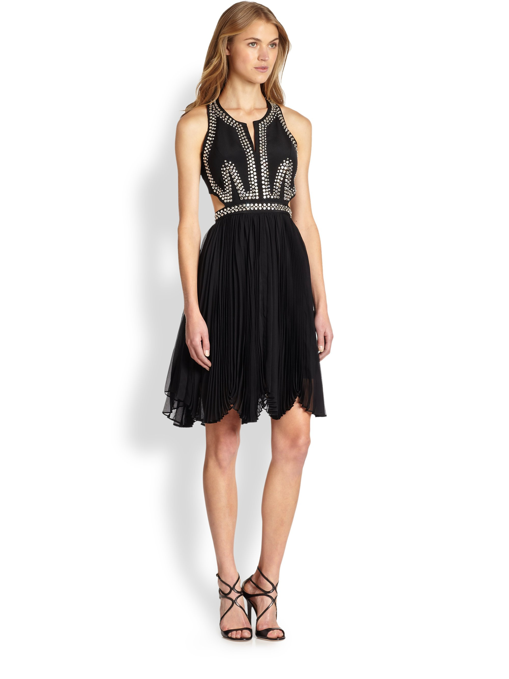 Rebecca Taylor Faux Leather Fit & Flare Dress | Nordstrom