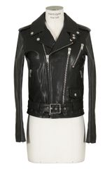 Saint Laurent Black Leather Biker Jacket - Lyst