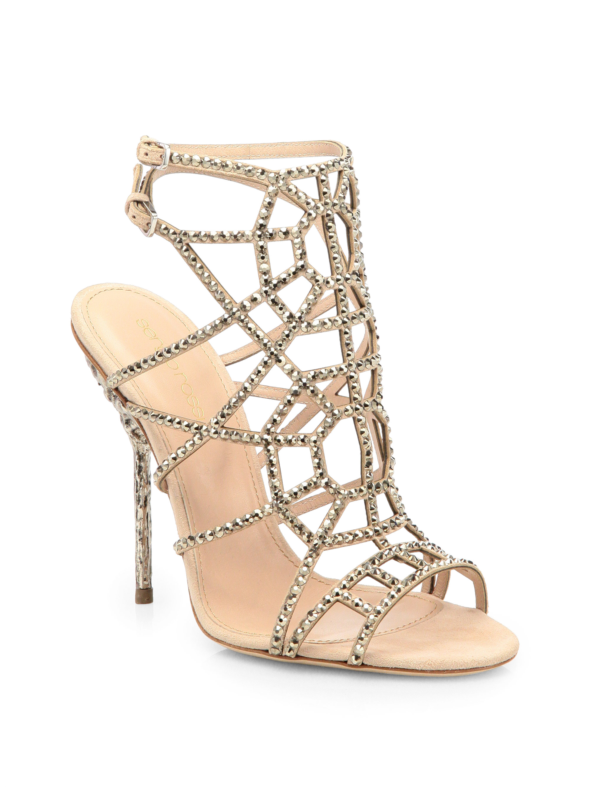 ca9477168bf5 Sergio Rossi Crystal Suede Puzzle Sandals in Natural - Lyst