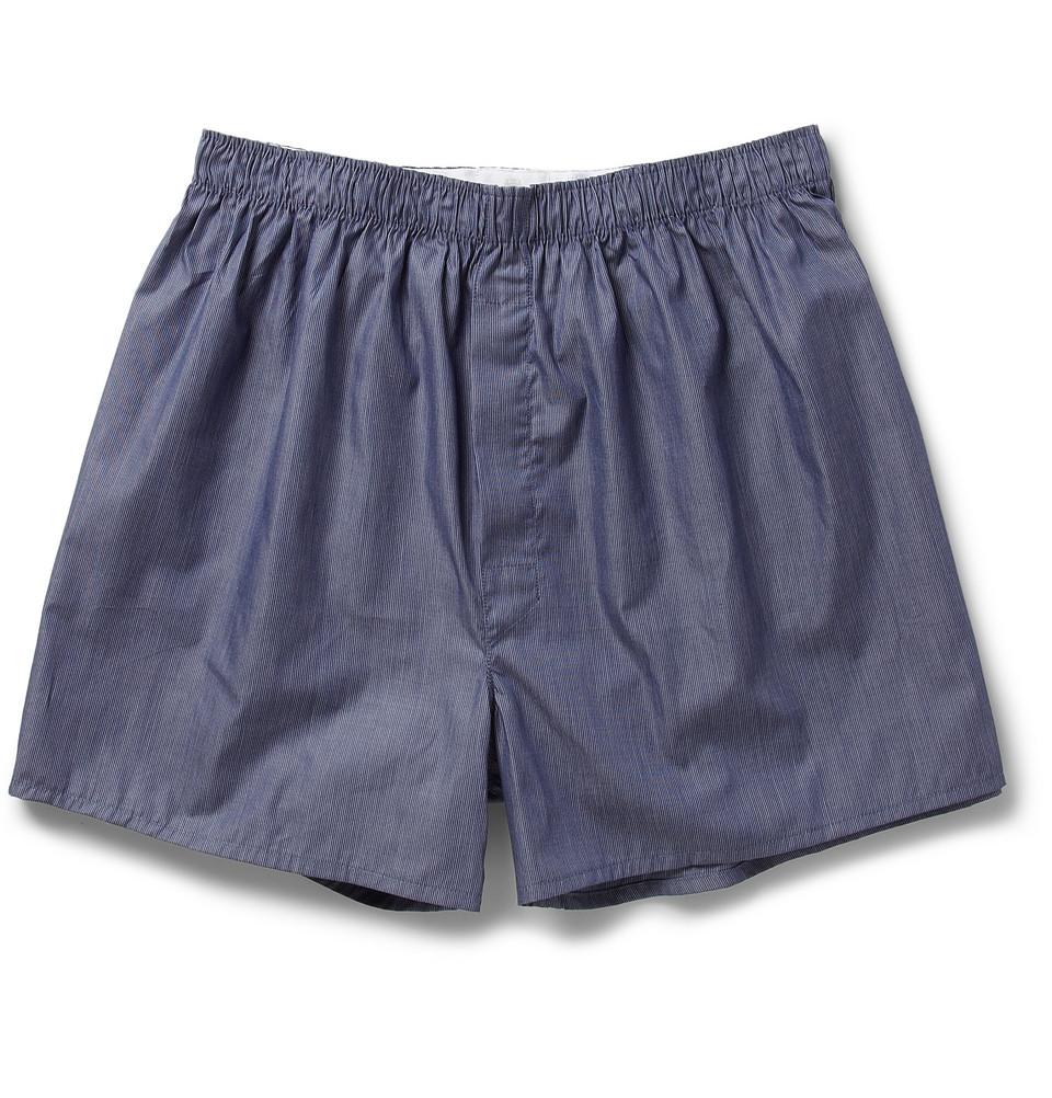 Sunspel Striped Cotton Boxer Shorts In Blue For Men Lyst