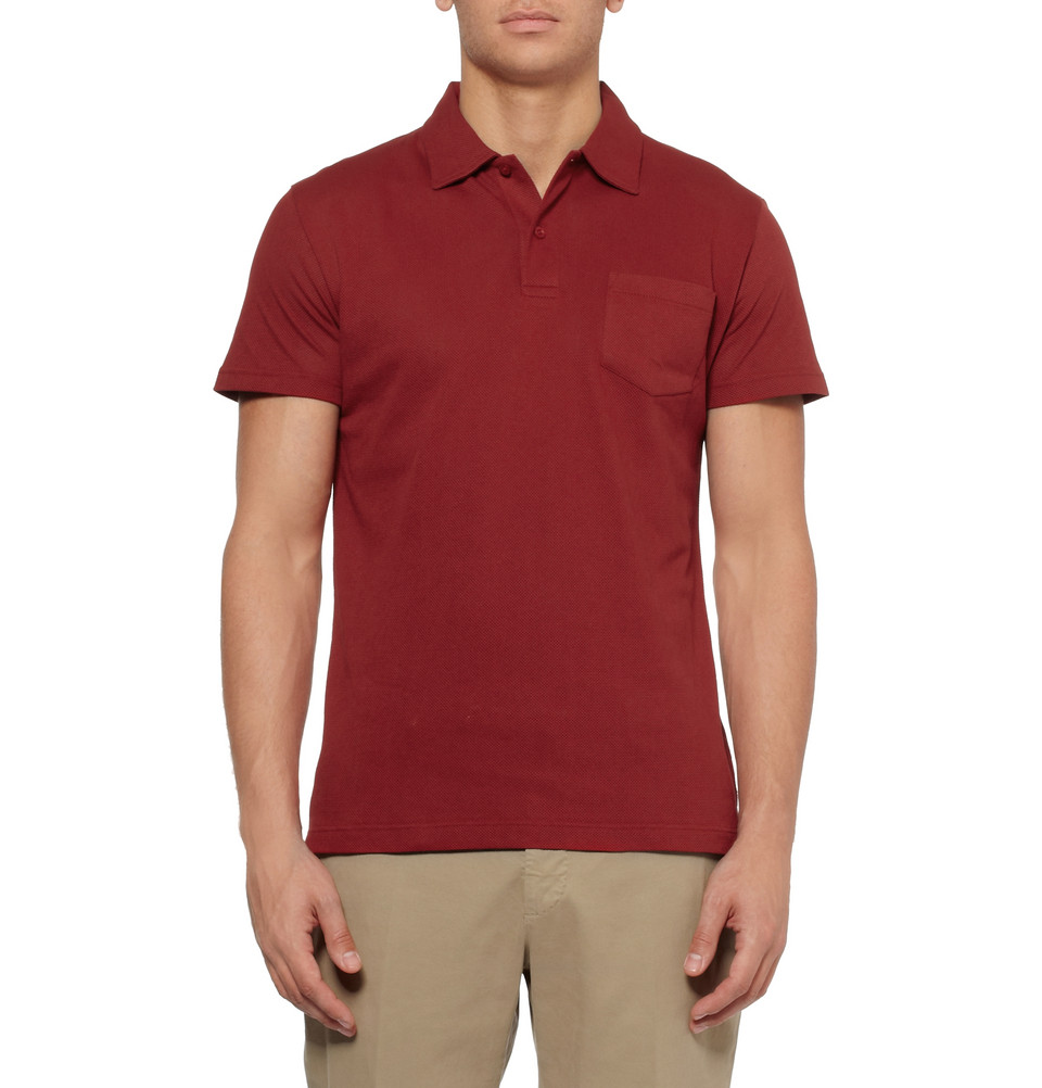 0109ba910 Sunspel Riviera Cottonmesh Polo Shirt in Red for Men - Lyst