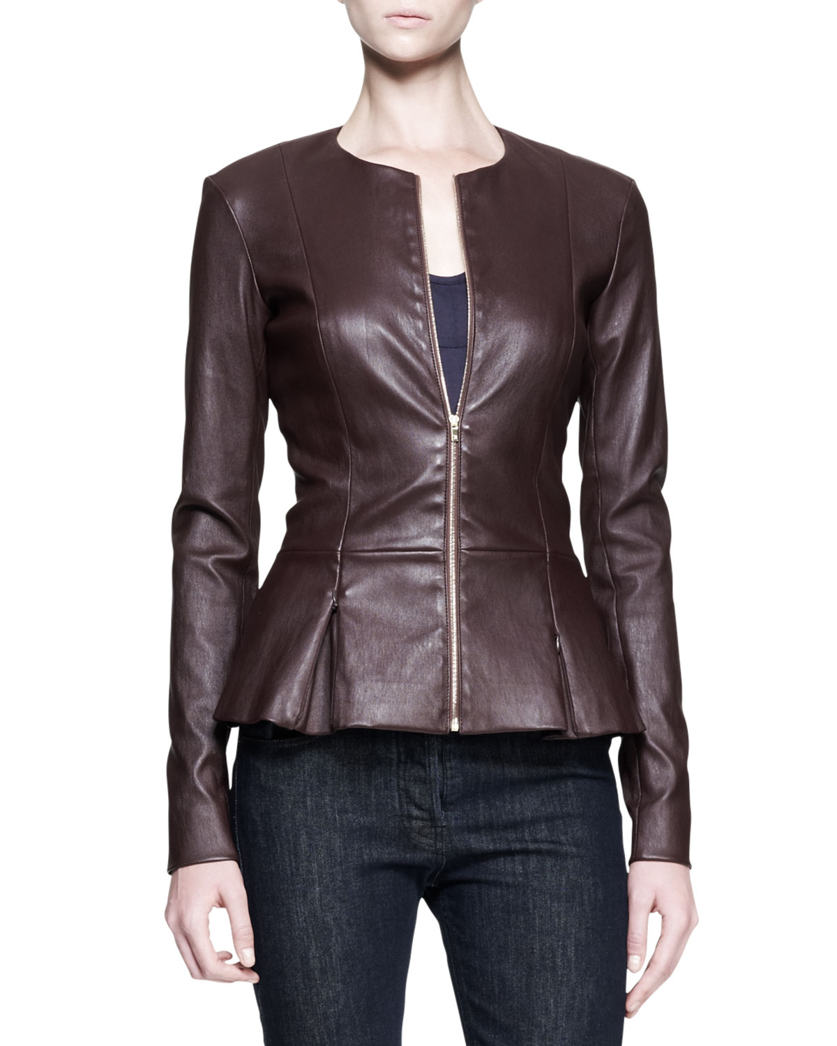 The row Stretch Leather Peplum Jacket in Brown | Lyst