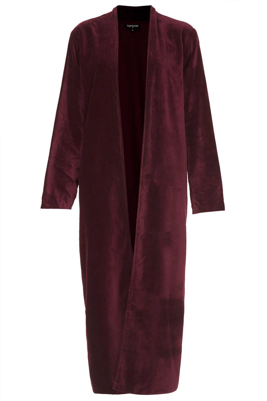 topshop velvet robe in purple burgundy lyst