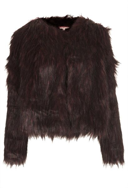 Topshop Faux Fur Coat By Oh My Love In Brown Oxblood Lyst