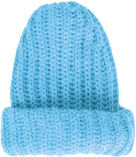 Double Chunky Knitting Patterns : Topshop Double Chunky Knit Hat in Blue (TURQUOISE) Lyst