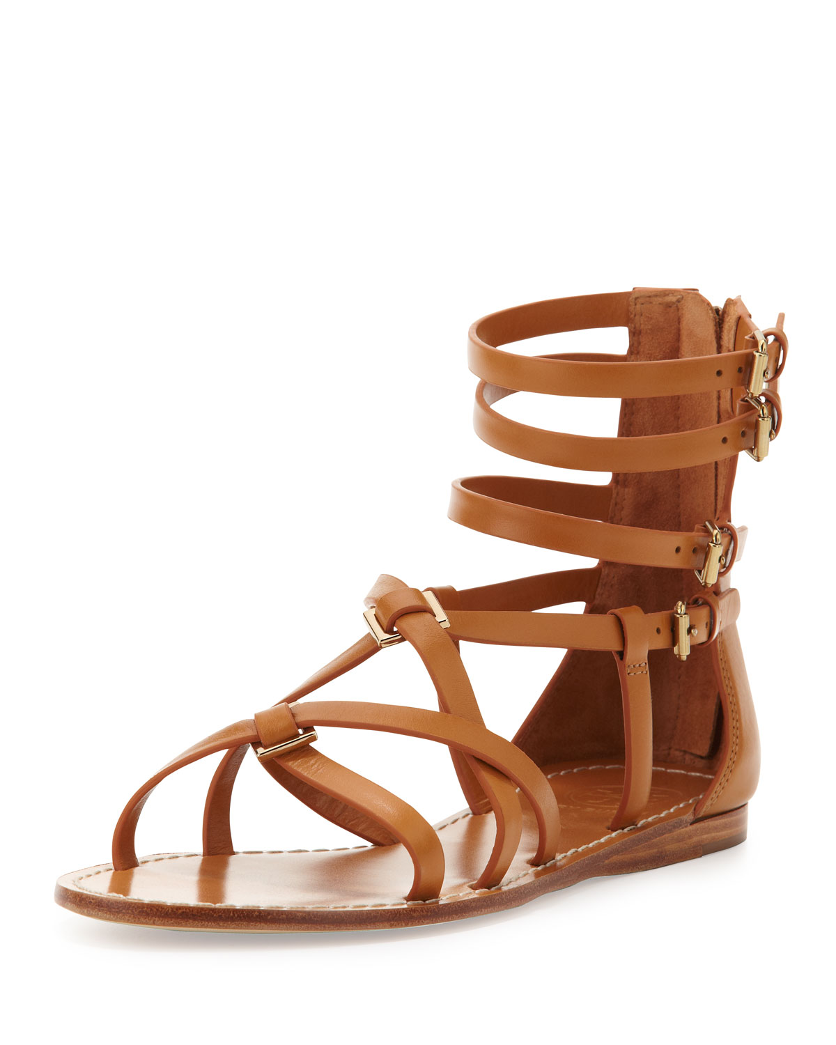 Tory Burch Lucas Leather Gladiator Sandal Custom Tan In