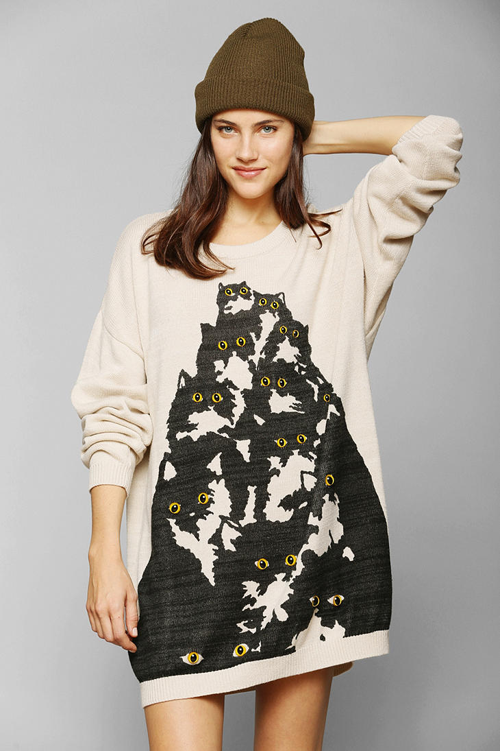 Lyst urban outfitters pretty snake crazy cat sweater in for Lucky cat shirt urban outfitters