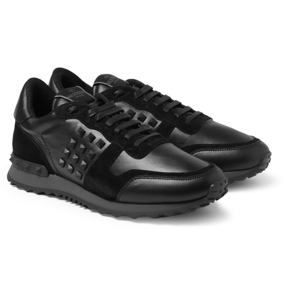 Valentino Studded Suede and Leather Sneakers in Black for Men - Lyst 5a2b89cf2649