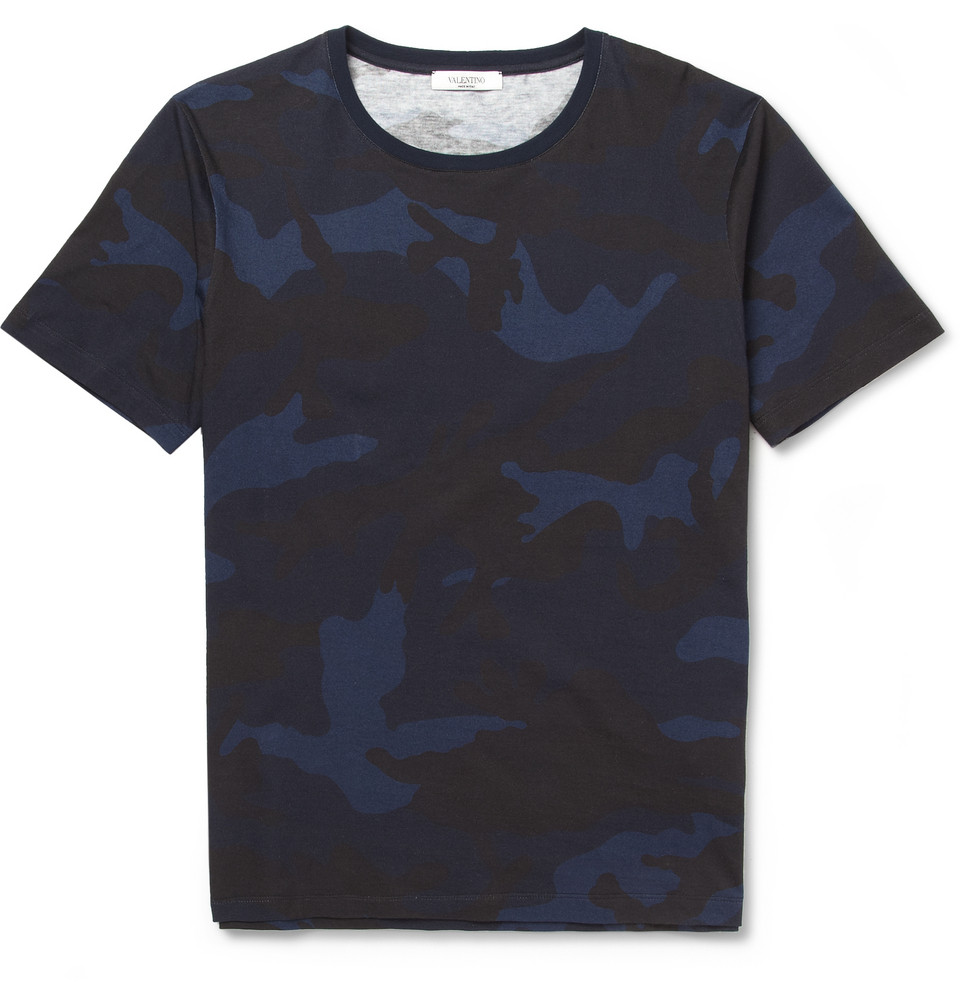 Valentino Camouflage Print Cotton Jersey T Shirt In Blue