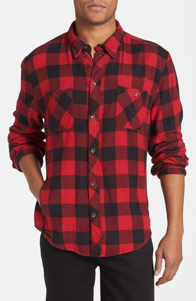 Alternative Apparel Timbers Up Check Flannel Shirt In Red