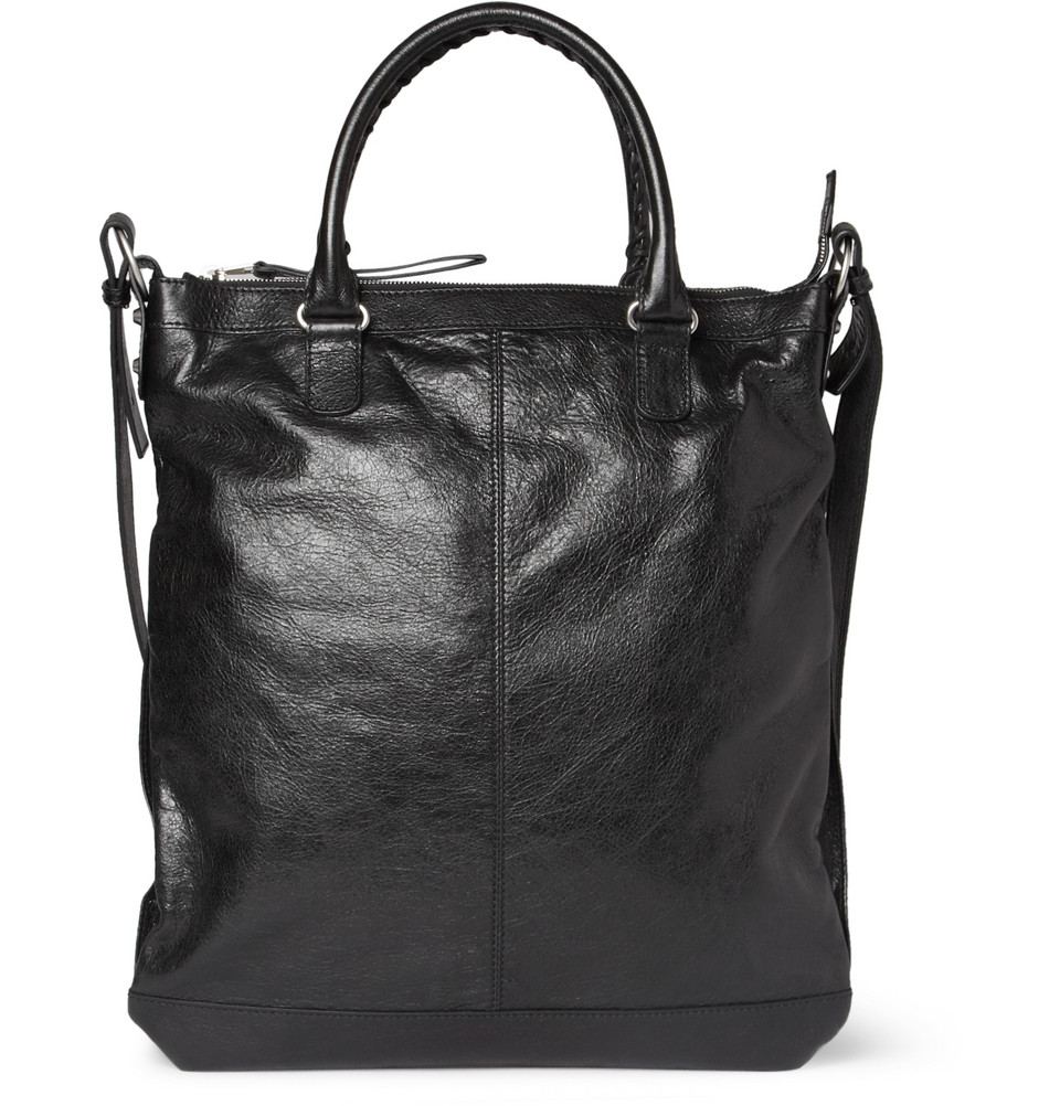 Lyst Balenciaga Creased Leather Tote Bag In Black For Men