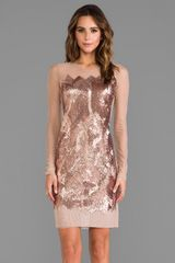 BCBGMAXAZRIA Anaya Sequin Dress in Metallic Copper - Lyst