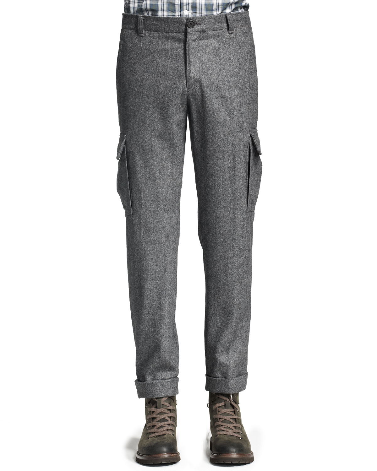 Brunello cucinelli Wool Cargo Pants Gray in Brown for Men | Lyst