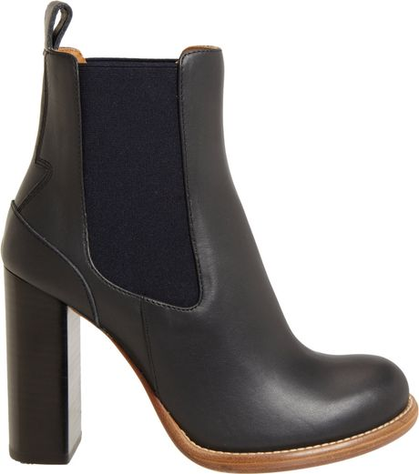 chlo 233 stacked heel chelsea boot in black lyst