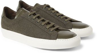 Common Projects Achilles Leathertrimmed Wool Low Top Sneakers - Lyst