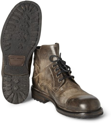 dolce gabbana burnished leather boots in brown for