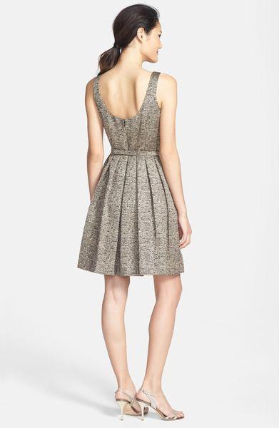 Donna Morgan Metallic Jacquard Fit Flare Dress In Gold