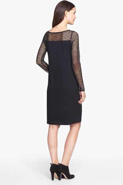 Eileen Fisher Bateau Neck Dress In Black Lyst
