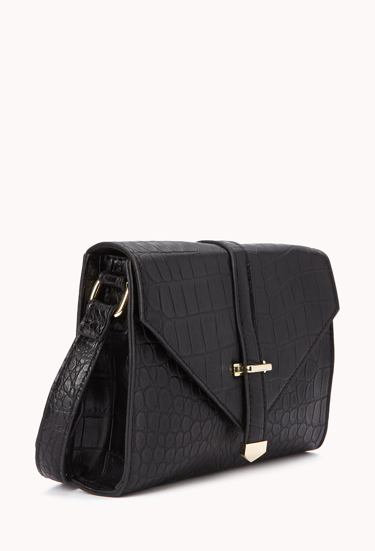 92295c5c47 Lyst - Forever 21 Iconic Faux Crocodile Crossbody in Black