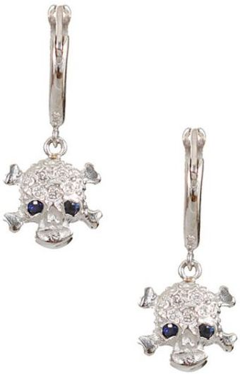 Ileana Makri  Gold and White Diamonds Skull Earrings - Lyst
