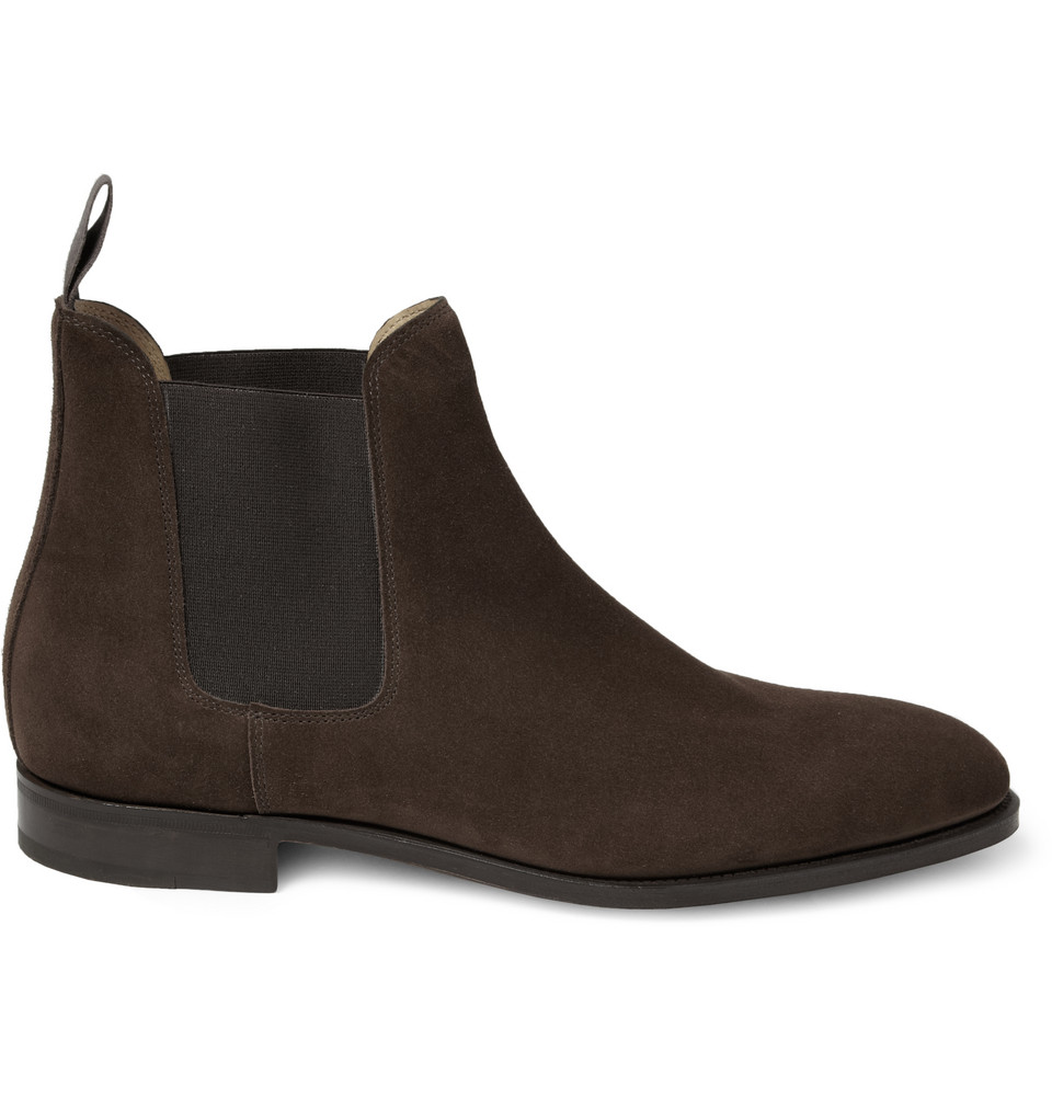 lobb chesland suede chelsea boots in brown for lyst