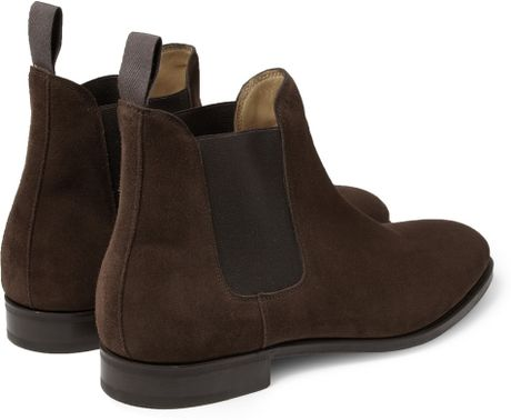 John Lobb Chesland Suede Chelsea Boots in Brown for Men   Lyst  Chelsea Boots