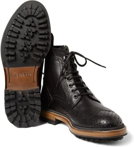 Lanvin Leather Brogue Boots In Black For Men Lyst